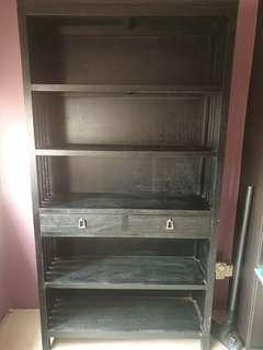 🚚 Barang barang tall dark solid wood book display shelf