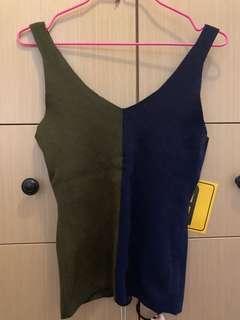 背心 藍綠間背心 Blue mix Green Woman Vest