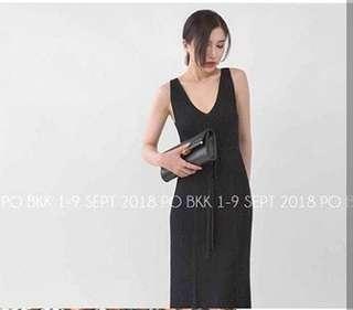 Black knit dress rajut
