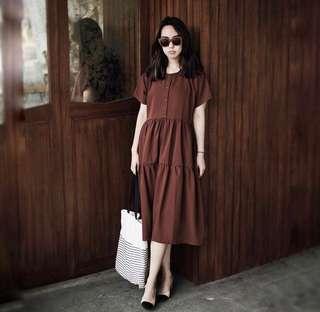 ATS The Label Cinnamon Brown Midi Dress
