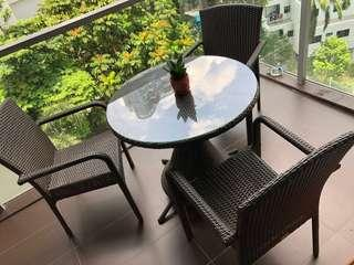 Priced to go: Outdoor Furniture 1 Roundtable 3 Arm chairs