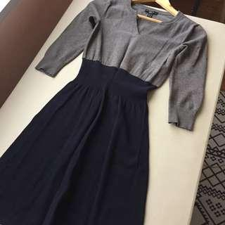 Mango Casual Dress Gray Midnight Blue with Sweater Pullover Material