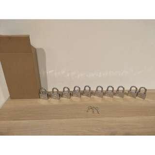 10 Padlocks Same Key (3 keys included)