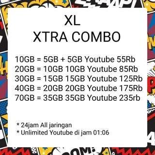 TERMURAH ISI ULANG XL XTRA COMBO 10GB 20GB 30GB