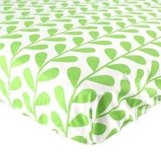 Luvable Friends Green Leaf 100% Woven Cotton Crib Bed Sheet IBY40099 G4R