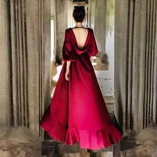 Wine red low back high low Dress / evening gown