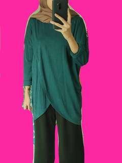 Tunik Hijab Busui Friendly / Green Asimetris Blouse / Green Basic Shirt / Green Dress / Dress Hijab / Atasan Hijau Tua / Baju Hijab / Asimetris Dress