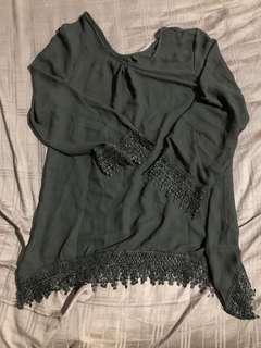 Black Cotton Long Shirt Slim Cutting Lace