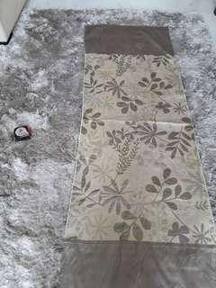 Table or Bed Runner . Silk floral with border