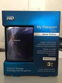 WD 3TB Blue-Black My Passport Ultra Metal Edition Portable External Hard Drive - USB 3.0 - WDBEZW0030BBA-NESN