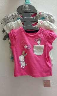 mothercare t shirt pack of 3 ( size up to 1m )