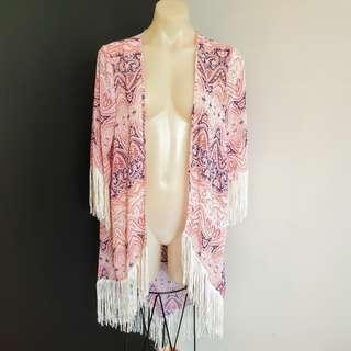 Women's size 10 'DOTTI' Gorgeous baroque kimono summer jacket with tassels - AS NEW