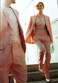 Helmut Lang pink wool and silk trousers
