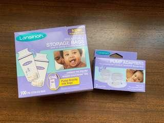 🚚 Lansinoh Breastmilk Storage Bags and adaptor