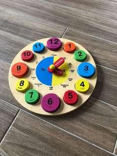 Wooden teaching clock