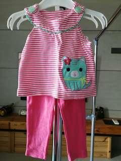 Sleeveless cat blouse + long pants