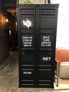 Metal shipping container cabinet