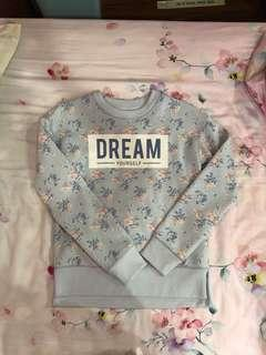 Pastel Blue Floral Sweater Dream Text