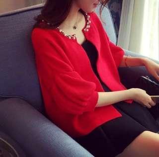 🚚 春秋氣質寬鬆五分袖小外套(紅色)大尺碼