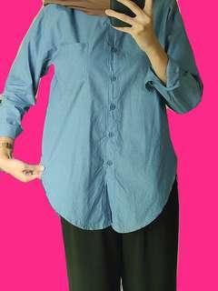 Kemeja Jeans Medium Blue / Kemeja Biru/ Medium Blue Shirt / Medium Blue Top / Kemeja Hijab/ Atasan Hijab / Atasan Kemeja