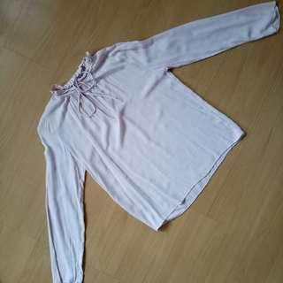Blush pink long sleeve blouse