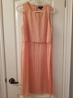 Peach dress top with side slit