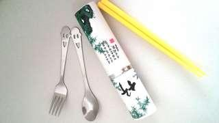Remember Earth Day! BN cutlery set -fork, spoon and chopstick
