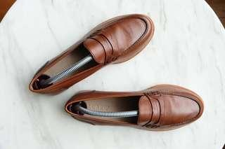 """J CREW """"Ryan Penny Loafers in Leather"""" Burnished Pecan Colour, Size 36"""