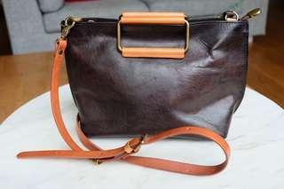 Leather handbag, Brown, handmade