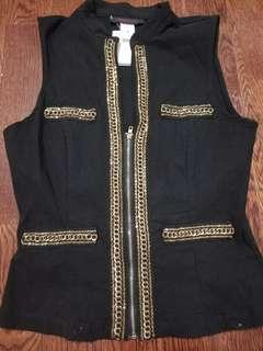 Women's black vest with gold accent jewels