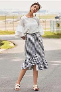 Gingham Plaid Checkered Midi Skirt