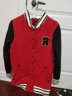 Women's red varsity jacket
