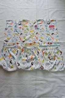Elvira Baby - Setelan (atasan tangan kutung + celana pop) Motif Dino #ibuhebat