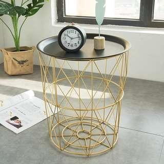 🚚 WHITE OR BLACK TOP WITH  ROSEGOLD METAL SIDE TABLE - CT 7