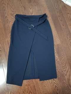 Women's navy blue midi skirt