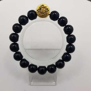 🚚 999 Pure Gold 'Power' Tattoo Charm with Onyx Beads Bracelet