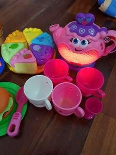 Leap frog tea set (complete).fisher price ice cream set (complete). IKEA soft toy fruit basket.