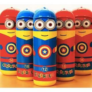 Captain America Minion Water colour markers set Kids Birthday Goodie bag
