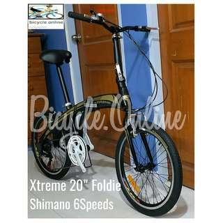 """Xtreme 6Speeds 20"""" Foldie✩ Shimano, High grade foldable pedals, Comfortable saddle with suspension ✩ compact,  fits nicely into car boots! ✩ officially allowed on public transport: Bus✓ MRT✓ Taxi✓ ✩ Brand New Bicycles"""