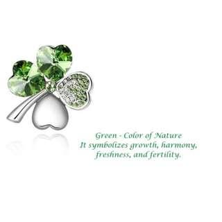 ♥Brooch/Necklace - Clover with rhinestone♥