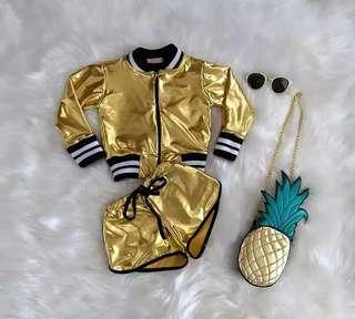 Fashion Kids Baby Girl Clothes Metallic Jacket Tops+Short Pants 2Pcs Outifts Set Clothes