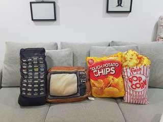 🚚 CUTE QUIRKY CHIPS POPCORN TV REMOTE CUSHIONS