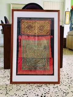 Northern Thai Tribal fabric in wooden frames