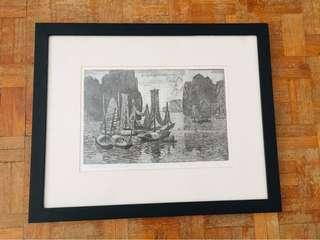 Hand draw scenic painting in wooden frame