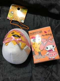 現貨!全新 日本 蛋黃哥 景品 BB蛋 毛公仔 吊飾 掛袋!