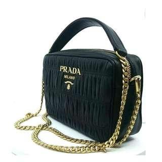 f458e246001b14 Prada Bandoliera Nero Black Nappa Gaufre'1 Quilted Leather Handbag
