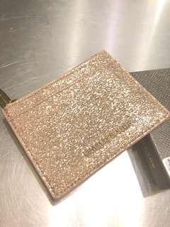 charles and keith card and coin purse wallet rose gold glitter