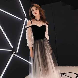 YIDINGZS Spaghetti Strap Gray Evening Dress Velour Tulle Party Elegant Long Dress