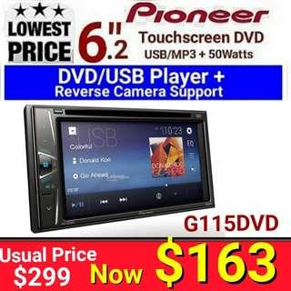"Pioneer 6.2"" Touchscreen DVD player + 7 Band Equalizer Head Unit { Supports Reverse Camera}. Model AVH-G115DVD.  Usual Price :$399 Special: $163  (export set - no warranty)"