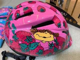 Helmet for kids. Pink helmet for girls. Barbie knee guards and elbow Guards